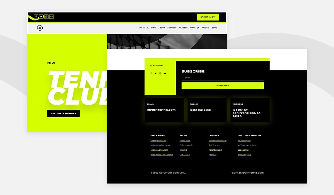 Download a Free Header and Footer for Divi's Tennis Layout Pack