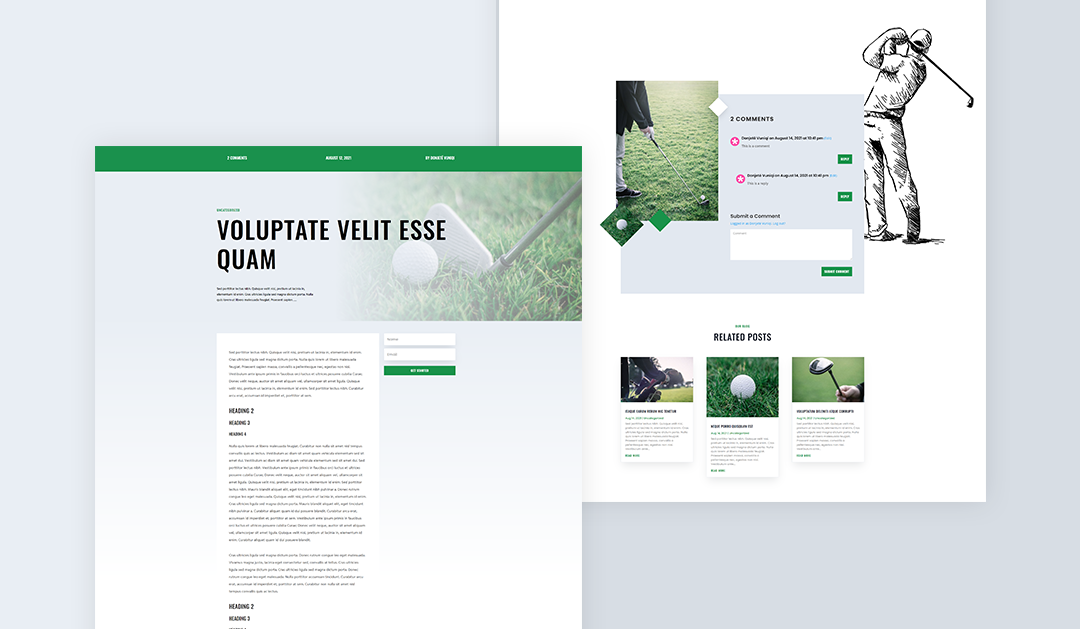 Get FREE Divi's Golf Lesson Layout Pack Blog Post Template